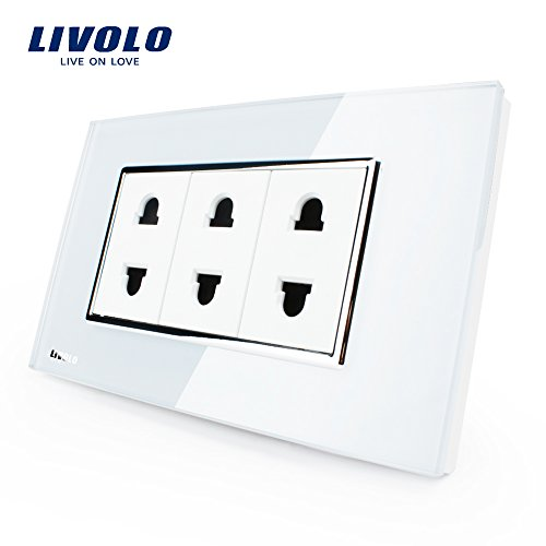 Livolo US Standard 2 Pins Socket, White Crystal Glass, 10A,