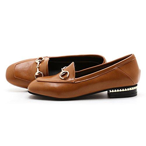 Mostrar Shine Mujeres Casual Low Heel Slip On Mocasines Zapatos Marrón Amarillo