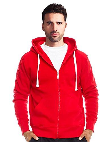 True Rock Men's Basic Full Zip Hoodie-Red-Small