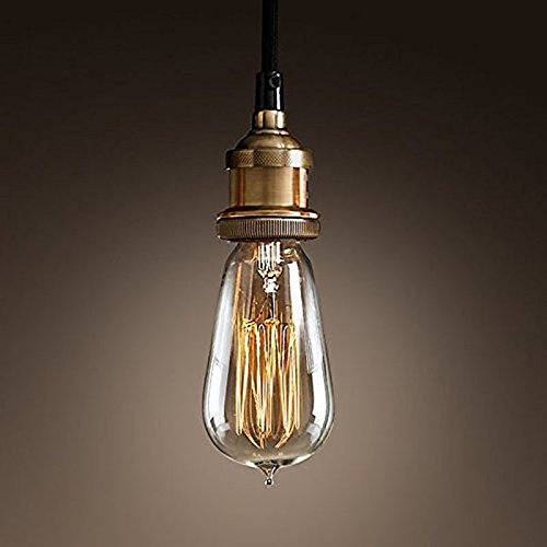 WINSOON MODERN VINTAGE INDUSTRIAL BASE SOCKET HANGING CEILING LAMP COPPER SHADE PENDANT LIGHT