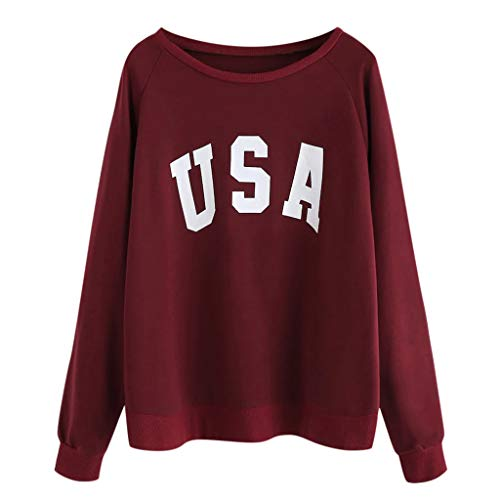 〓COOlCCI〓Women USA Letter Printed Graphic Cute Sweaters Funny Pullover Teen Girls Sweatshirts Pullover Tops Blouse Shirts Red (Polo Ralph Lauren Striped Knit Dress Shirt)