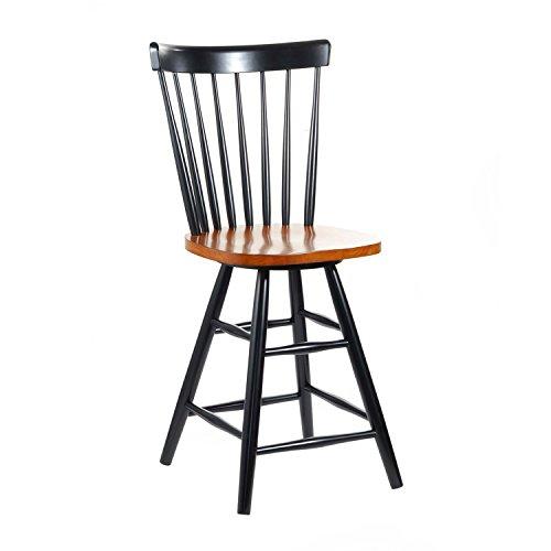 Windsor Design Kitchen Stool (International Concepts S57-2902 24-Inch Copenhagen Swivel Barstool, Black/Cherry)