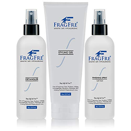 - FRAGFRE Hair Styling Set 3/Pack 8 oz ea - Irritation Free Hair Styling - Fragrance Free Hypoallergenic - Sulfate Free Parabens Free Hair Styling - for Sensitive Skin - Vegan Gluten Free Cruelty Free