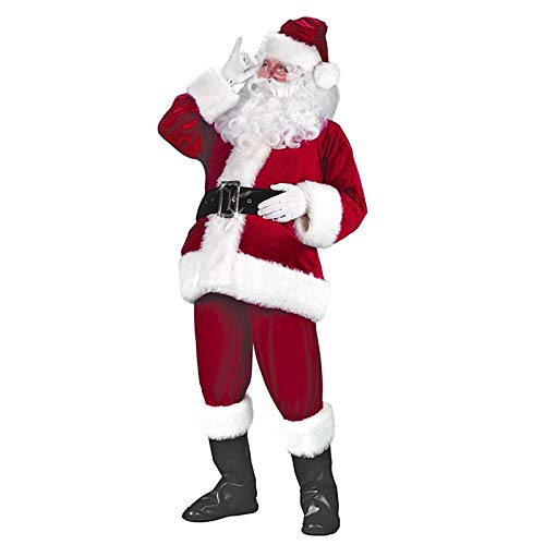 Santa Outfit Adult (Santa Claus Costume Suit Deluxe Adult Men Christmas Party Cosplay Santa Outfit (One Size, Wine)