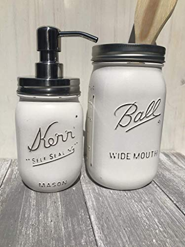 Set of 2 White Painted Mason Jar Soap Dispenser And Rustic Home Decor Kitchen Utensil Holder Farmhouse Bathroom Accessories