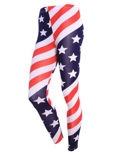 Americana Simplicity Stampa Pantaloni Patriottica Donna Leggings Bandiera ZZvwBtqR