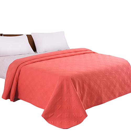 LITHER bedspreads Twin Size Oversized Quilt Coverlet Checkered Solid Color (Coral, 68x86inch) Machine Washable (Solid Twin Quilt)