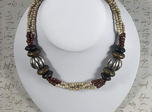 - Fun Necklace Beads Beige Brown Glass, Wood & Metal Tone Bali Made 20