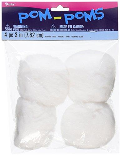 Pom Poms 3 4 Pkg White