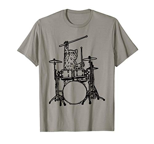 In My Head My Cat Always Play Drums T-Shirt Funny Cat Gift ()