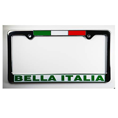Bella Italia License Plate Plastic Frame with Flag - Italy Collection of Italian Pride Products at PSILoveItaly