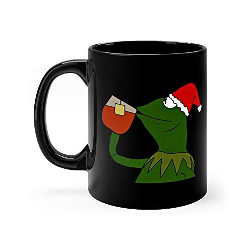 Christmas Kermit Inspired Meme Sipping Tea Funny Coffee Mug Best Christmas Gifts for Mom, Dad, Grandpa, Husband From Son, Daughter, Grandson. Fun Novelty Tea Cups Ceramic 11oz -