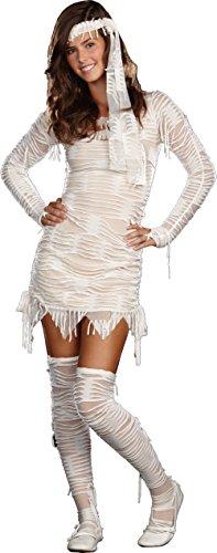 Sugar Sugar by DG Brands Spooky Juniors Teen Costume, Yo Mummy, White, Small ()
