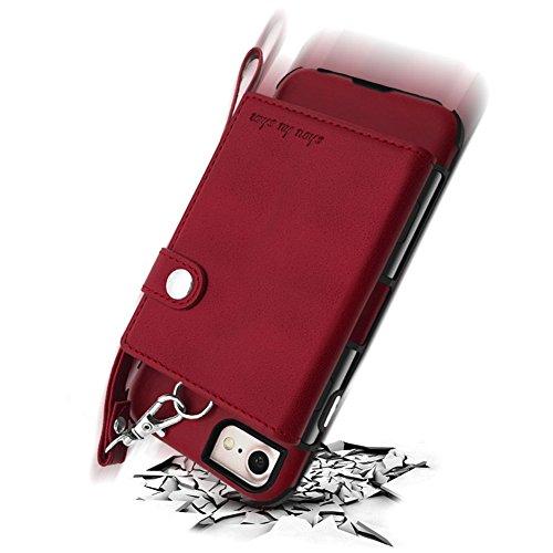 Funda iPhone 6 , iPhone 6S Carcasa, Sunroyal 2 en 1 Magnética Cremallera Wallet Luxury Vintage Suave [Función de soporte] [Shock-Absorption] Soporte del Inteligente Coche Ranuras para Tarjetas y Bille naranja