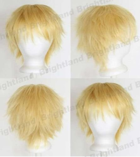 Flyingdragon New Short Messy Spiky Golden Blonde Heat Resistance Cosplay Wig (Spiky Blonde Wig)