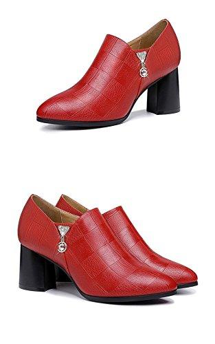 Chaussures Hauts Pointues Rouge À En Simples Talons Épais Roman Loisirs Chaussures Wild Femmes 37 Cuir 8WB7RZwT