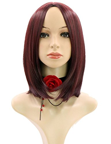 Beauty : Jollyvogue Long Bob Ombre Crimson Fashion Women's Wig with Natural Hairline Synthetic Party Wigs for All of the lights(Black Ombre Crimson)