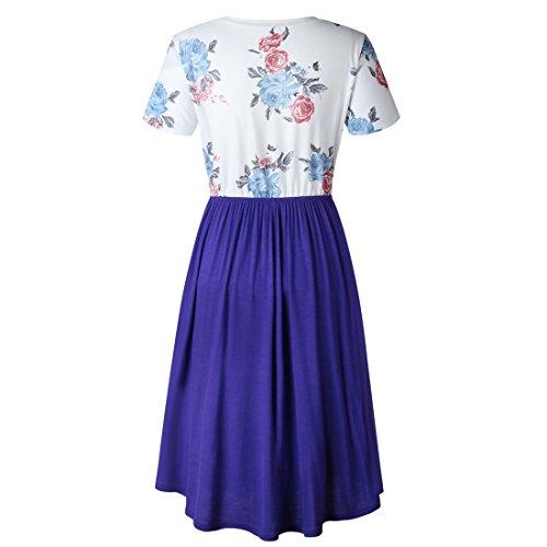 Manches Courtes Vintage Femmes Ai.moichien Une Ligne Robe Tunique Midi Fleur Plissée Bleu