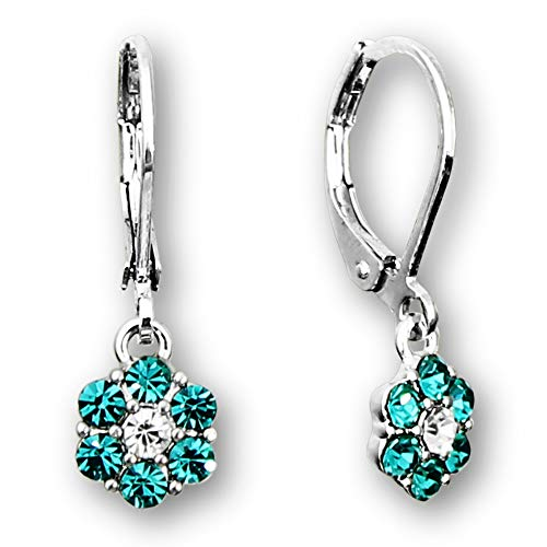 Silver Teal Hoop (Flower earrings for girls | Color crystal flower hoop earrings for kids | Rhodium silver plated leverback earrings for little girls Quality little girl earrings | hypoallergenic kids earrings)
