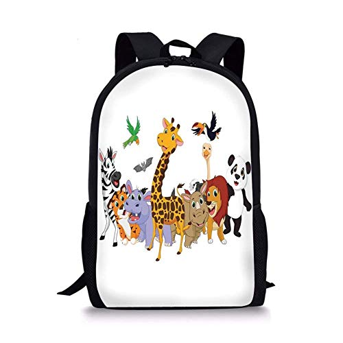 School Bags Kids,Colorful Jungle Animals Hippo Bat Parrot Gi