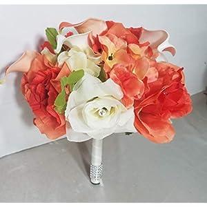 Dark Coral Ivory Rhinestone Rose Lily Bridal Wedding Bouquet & Boutonniere