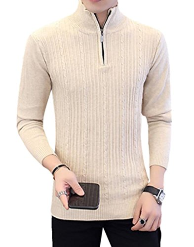 BYWX Men Mock Neck Quarter Zip Long Sleeve Knitted Pullover Sweater Creamy White US L