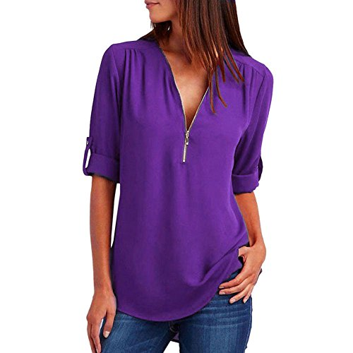 TOPUNDER 2018 Fashion Women Casual Tops T-Shirt Loose Long Sleeve Blouse by (Purple, Medium)
