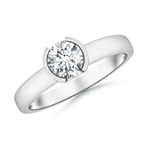 Semi Bezel-Set Moissanite Solitaire Engagement Ring in 14K White Gold (6mm Moissanite)