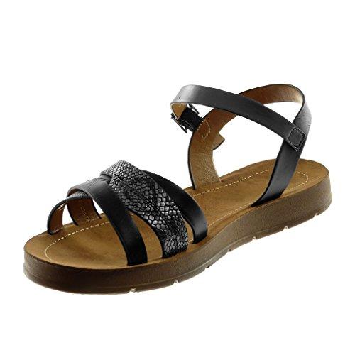 Angkorly Zapatillas Moda Sandalias Correa de Tobillo Mujer Correas Cruzadas Correas Cruzadas Plataforma 2 cm Negro plata