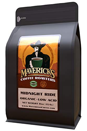 Mavericks Low Acid Coffee – Midnight Ride Blend – Organic Coffee Ground 16 oz – Bold and Smooth Dark Roast with 90% Less Acid – Safe for GERD and Keto Diets