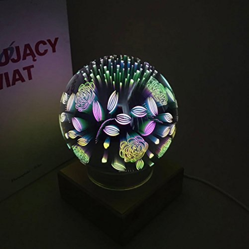 3D Fireworks Night Light, Tmore Glass Lamp Magical Crystal Ball USB Power Starry Decorative Lamp Colorful Sphere Table Light (Butterfly) by Tmore (Image #3)
