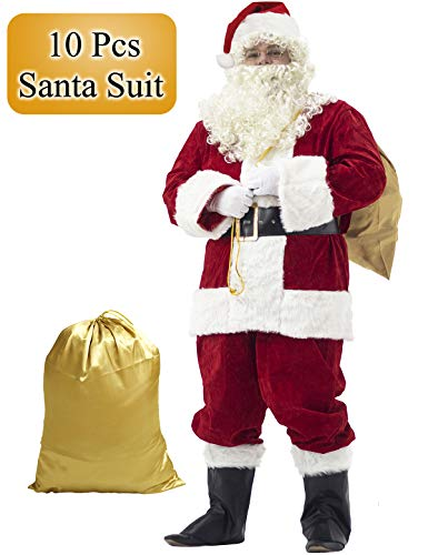 Ahititi Santa Suit Adult Costume 10pc. S Red