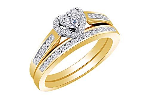 1/2 Carat (Cttw) Diamond Heart Bridal Wedding Engagement Ring 14K Yellow Gold Band Set Ring Size-5.5