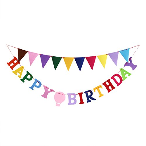 PALASASA Colorful Letter Happy Birthday Banner Set, Matching Triangle Banner for Party Decorations (Monster High Girl Names)