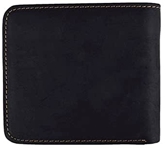 Mikalu Retro Leisure Top Layer Cowhide Leather Wallet for men,Credit Cards wallet,Money Clip Wallets (WA-H02-1-2) Bifold Wallets Black