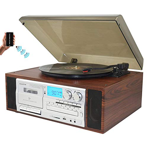 (Boytone BT-38SM Bluetooth Classic Turntable Record Player System, AM/FM Radio, CD / Cassette Player, 2 Built-in Stereo Speakers, Record from Vinyl, Radio, and Cassette to MP3, SD Slot, USB, AUX.)