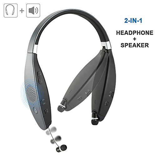 Silver Folding Headphone (Bluetooth Headphones Bluetooth Headset with Built-in Mic Speakers FoYoung Foldable Neckband Retractable 32 Hours Long Battery Silver Grey)