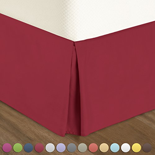 "Pleated Bed-Skirt Queen Size – Red (Burgundy) Luxury Double Brushed 100% Microfiber Dust Ruffle, 14"" inch Tailored Drop, Covers Bed Legs and Frame. By Nestl Bedding"