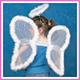 : Fun Express White Marabou Angel Wings & Halo Headband Nativity Christmas Play