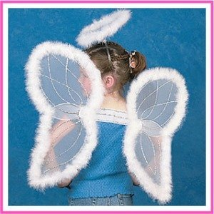 Fun Express White Marabou Angel Wings & Halo Headband Nativity Christmas Play (Angel Halo Costume)