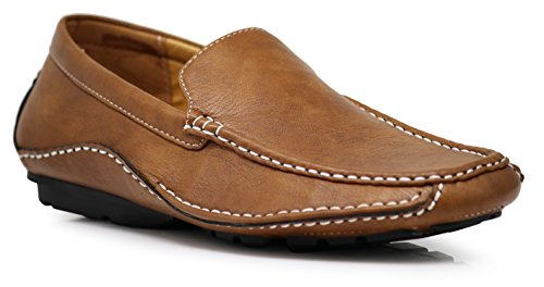 CFORD Men's Light Weight Casual Cruise Venetian Classic Driving Moccasin Loafer Driver Shoes (7.5 D(M) US, Tan)