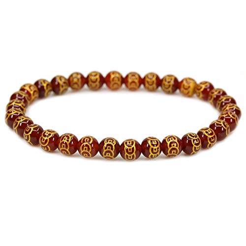 Natural Copper Coins Red Agate Gemstone 6mm Round Beads Stretch Bracelet 7