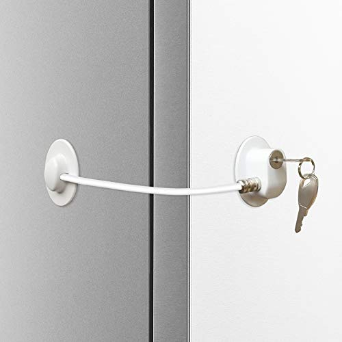Alamic Refrigerator Door Lock Freezer Door Lock Cabinet Lock Strongest Adhesive Cable Lock Security Door Lock - White