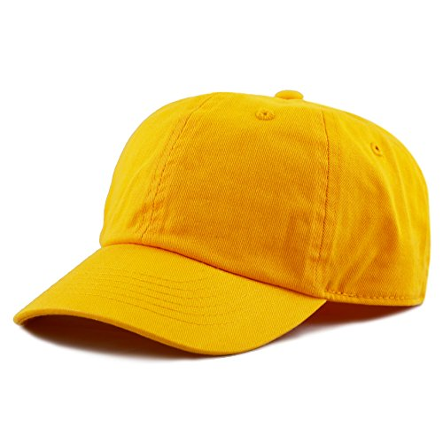(The Hat Depot Kids Washed Low Profile Cotton and Denim Baseball Cap (Gold))