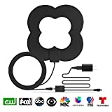 GJT Amplified Antenna Four Leaf Clover HDTV Digital TV Antenna 50 Miles Range Indoor High Reception with Detachable Signal Booster for Free Channel,10ft High Performance Coax Cable with Adapter