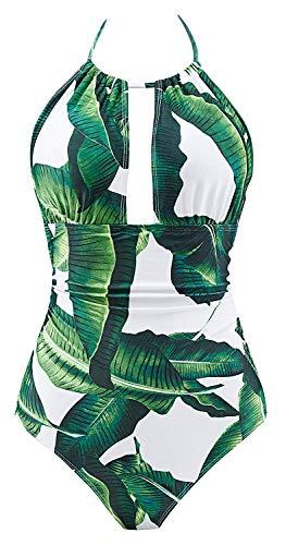 B2prity Damen Badeanzug Retro Tief V Ausschnitt Rückenfrei Neckholder Bauchweg Monokini Bademode Bikini