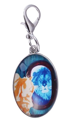 (Cat Zipper Pull Charm, Bag Charm - Animal -Wearable Art (Salvador's Reflcetion -)