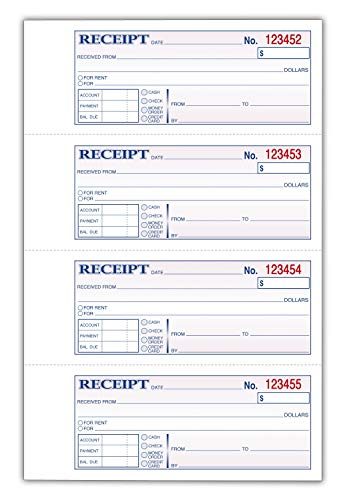 TOPS Money Receipt Book, 2-Part, Carbonless, 2-3/4 x 7-1/8 Inches, 4 Receipts per Page, 400 Sets per Book (46816)