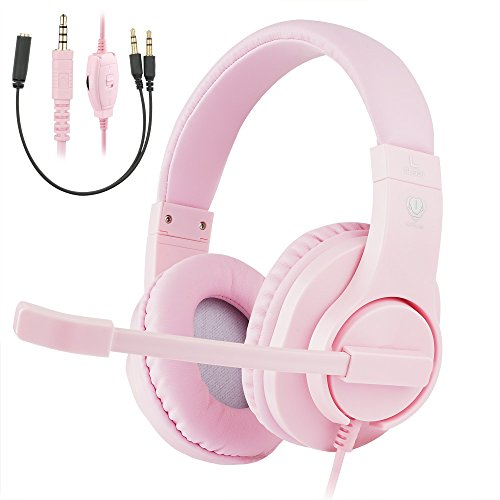 ShinePick 3.5mm PS4 Gaming Headset with Microphone and Volume Control Compatible with PS4, New Xbox One, Xbox One S, Xbox One X, Nintendo Switch, PC(Pink)