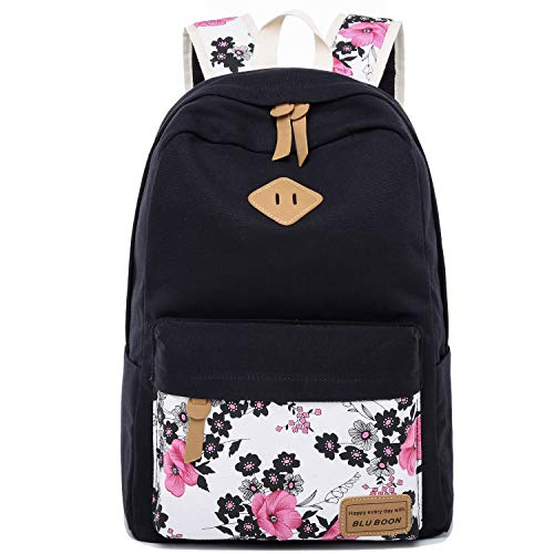Laptop School Backpack Girls Women Bookbags Schoolbag for Teens University Travel Daypack (Black-0014)